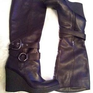 Nine West leather boots sz 11 black
